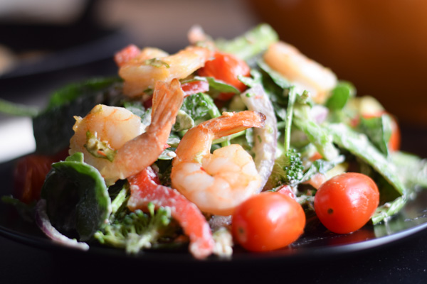 Broccoli and Arugula Salad with Harissa Shrimp