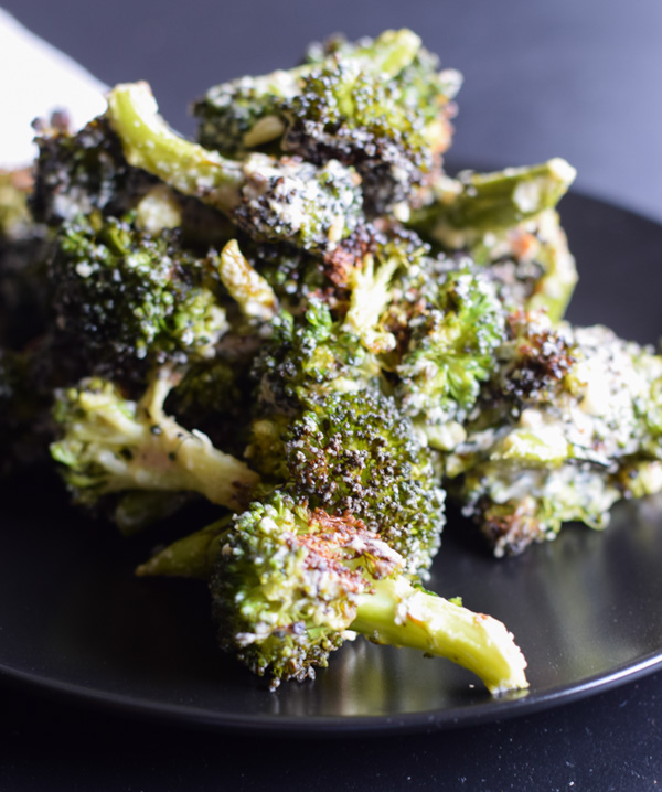 Roasted Broccoli with Hummus
