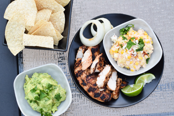 Grilled Chicken with guacamole and esquites