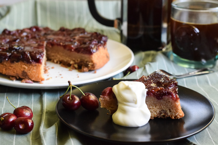 cherry upside down coffee cake